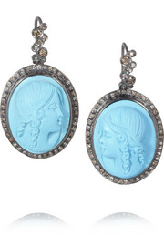 Amedeo Rhodium-plated diamond lady cameo earrings