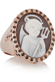 Amedeo Rose gold-plated, sardonyx shell and diamond cupid cameo ring