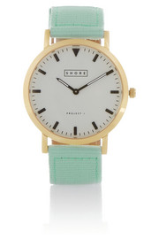 Finds + Shore Projects gold-plated, grosgrain and leather watch