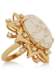 Lele Sadoughi Sunshine gold-plated, marble and howlite ring