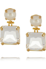 Lele Sadoughi Solar gold-plated, faux pearl and crystal earrings