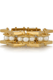 Lele Sadoughi Pearl Satellite gold-plated faux pearl bracelet