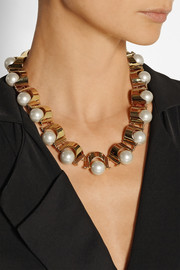 Lele Sadoughi Groove gold-plated faux pearl necklace