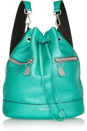 House of Holland The Bucket metallic textured-leather backpack