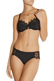 Galliera lace and stretch-crepe underwired bra