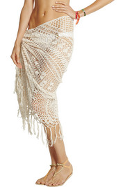 Anna Kosturova Tasseled crocheted cotton wrap
