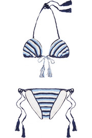 Anna Kosturova Striped crocheted cotton triangle bikini