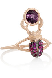 Daniela Villegas Khepri 18-karat rose gold, ruby and spinel ring