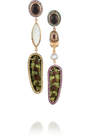 Daniela Villegas Magico 18-karat rose gold, multi-stone and beetle earrings
