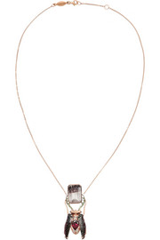Daniela Villegas Nike 18-karat rose gold, multi-stone and beetle necklace