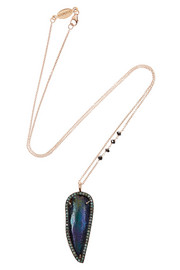 Daniela Villegas Sister Sister 18-karat rose gold, beetle and multi-stone necklace