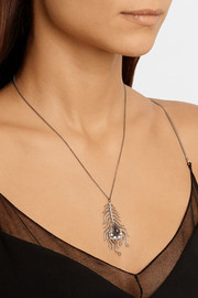 Daniela Villegas Peacock 18-karat rhodium white gold, diamond and labradorite necklace