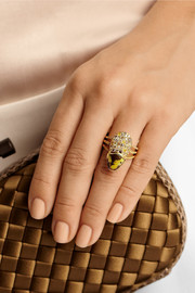 Daniela Villegas La Marquesa 18-karat gold, diamond and beetle ring