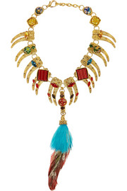 VICKISARGE Artisan gold-plated, Swarovski crystal and feather necklace