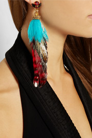 VICKISARGE Artisan gold-plated, Swarovski crystal and feather earring