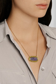 Brooke Gregson 18-karat gold, tanzanite and tsavorite necklace