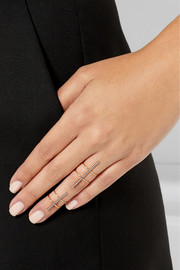 Diane Kordas 18-karat rose gold diamond double ring