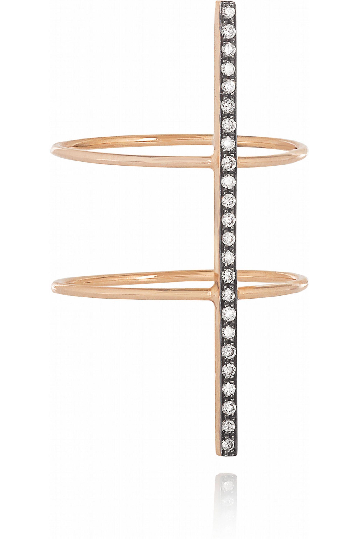 Diane Kordas Bar 18-karat rose gold diamond ring