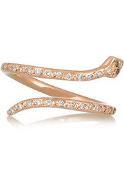 Snake 18-karat rose gold diamond ring