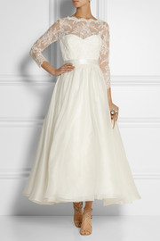 Lace and silk-organza gown