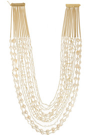Gold-dipped freshwater pearl multi-strand necklace