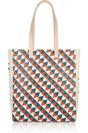 Clare V + Wear LACMA Margot leather-trimmed printed canvas tote