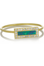 18-karat gold, opal and diamond ring
