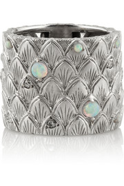 Carolina Bucci Feather 18-karat white gold, diamond and opal ring