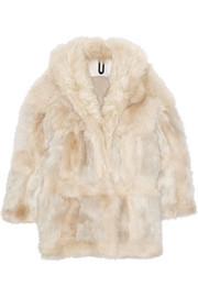 Topshop Unique Patchwork shearling coat