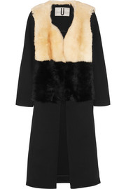Shearling and twill coat