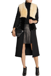 Topshop Unique Shearling and twill coat
