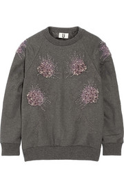 Embellished cotton-blend sweatshirt