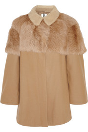 Shearling-paneled wool-blend cape coat