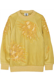 Topshop Unique Embellished metallic tech-jersey sweatshirt