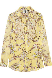 Topshop Unique Printed silk-georgette shirt