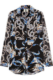 Topshop Unique Printed silk-crepe shirt