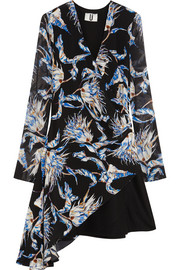 Topshop Unique Wool-paneled printed silk-crepe mini dress