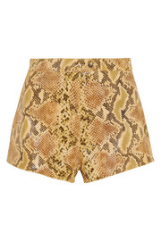 Topshop Unique Snake-print coated suede shorts