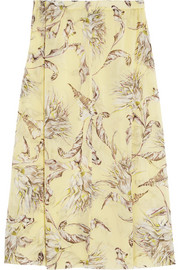 Topshop Unique Printed silk-georgette skirt