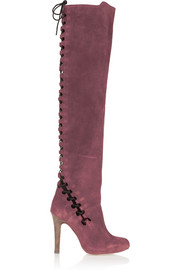 Topshop Unique Lace-up suede over-the-knee boots