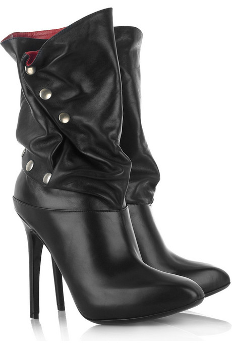Black Slouchy Leather Calf Boots With Exposed Silver-Tone Snap Closures and Square Toes - Alexander McQueen from net-a-porter.com