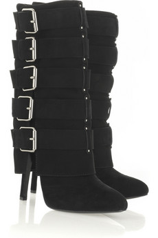 Balmain Buckle-embellished suede boots
