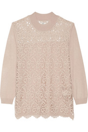 Day Flore lace-paneled knitted sweater
