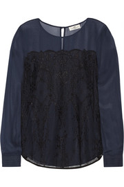 Night Filigree georgette and lace top
