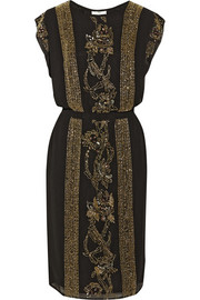 Night Goldie embellished crepe dress