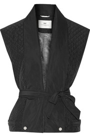 Night Flicker belted quilted shell gilet