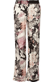 Night Flower printed satin wide-leg pants