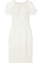 Lela Rose Lace-trimmed stretch-crepe dress