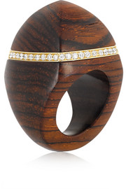 Finds + Catherine Prevost 18-karat gold, cocobolo wood and diamond ring