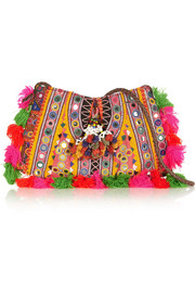 Finds + Muzungu Sisters embellished cotton-blend shoulder bag